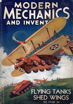 """Flying Tanks Shed Wings"" via retro-futurism"