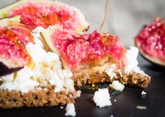 bread with cheese, figs and honey - bread with cheese, figs and honey, selective focus