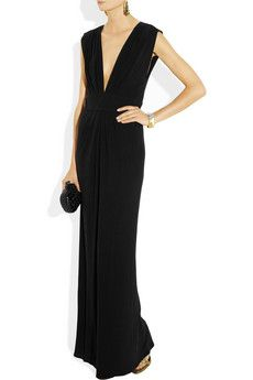 ISSA Pleated silk crepe-jersey gown