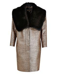 Per Una Speziale Metallic Effect Faux Fur Collar Coat with Wool