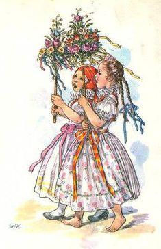 Marie Fischerova Kvechova - lidová kultura, folklor a folklorismus Vintage Paper, Vintage Art, Illustrator, German Folk, Beltane, Art Themes, Vintage Pictures, Vintage Children, Art Photography
