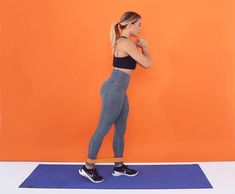 """Place the band around your ankles. With your hands at your chest or on your hips, shift all your weight into your left leg and place your right toes on the ground about an inch diagonally behind your left heel, so there is tension in the band. Squeeze your abs and tuck your pelvis under as you kick your right leg back about 6 inches. Keep the knee straight. Return your right foot to the ground, keeping tension in the band, for 1 rep. Do 20 reps. Switch sides and repeat. """"This is not a big…"""