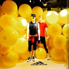 """HUDSON'S BAY COMPANY, Eaton Centre, Toronto, Canada, """"John, let's workout really hard, then rehydrate with beers"""", (FitBall: helps makes fitness fun), for ADIDAS, photo by @miscellanyseven, pinned by Ton van der Veer"""