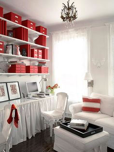 Smart Home Office Living room? Large home office? Yes, and you can steal these great ideas to make your own rooms pull double duty: -- Mount open shelving the length of the room all the way to ceiling. Organizing Your Home, Home Organization, Organizing Tips, Suppose Design Office, Mini Loft, White Office, Red Office, Small Office, Family Office