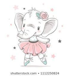 Vector illustration of a cute baby elephant ballerina in a pink tutu. - Dariana Wunsch - Vector illustration of a cute baby elephant ballerina in a pink tutu. Vector illustration of a cute baby elephant ballerina in a pink tutu.