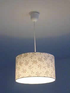 Lustre suspension plafonnier abat jour cylindrique gris rond 28cm