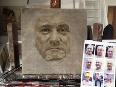 Damien Hirst (Study) in progress in the studio. Photo Jonathan Yeo, from The Many Faces of Jonathan Yeo, published by Art / Books National Portrait Gallery, Jonathan Yeo, Hirst, Portraiture, Art, Portrait Painting, Abstract, Art Tutorials, Book Art
