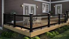 Decks Deck Railing Ideas for sizing 2200 X 1236 Black Rod Iron Deck Railing - Deck layout is a fairly personal job. Curved deck Your deck design does not Patio Handrail Ideas, Metal Deck Railing, Patio Railing, Railing Ideas, Pergola Ideas, Pergola Kits, Patio Ideas, Aluminum Railings, Cable Railing