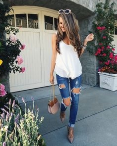 white tank and ripped jeans - perfect classic outfit. find me on instagram: cmcoving!