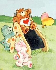 Care Bears: Tenderheart, Wish & Cheer Bear on a Slide Care Bear Birthday, Care Bear Party, Cartoon Posters, Cartoon Characters, Cartoons, Care Bear Tattoos, Care Bears Vintage, Garfield And Odie, Favorite Cartoon Character