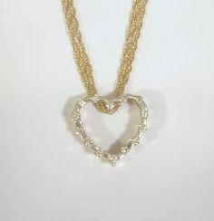 """Dainty 14K Gold & Diamond Heart Pendant on Fine 3 Strand 14K Gold Necklace 16"""""""