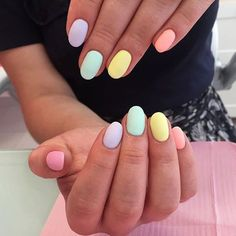 35 Extremely Cute Candy Colors Nail Art Design These candy colors will remind you of a lively rainbow on a Spring sky. They are also so easy to try it on. All you need is pastel nail polish in multiple shades. Cute Acrylic Nails, Cute Nails, Pastel Nail Art, Cute Shellac Nails, Cute Nail Art, Winter Nails, Summer Nails, Nails Summer Colors, Cute Spring Nails