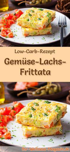 Low-Carb-Rezept für Gemüse-Lachs-Frittata: Kohlenhydratarme Eierspeise - eiweißreich, kalorienreduziert, ohne Getreidemehl, gesund ... #lowcarb #frühstück