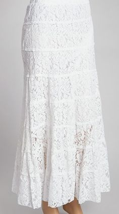 IRE White Tiered Floral Mesh Maxi Skirt love this