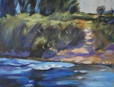 Landschap nageschilderd van Norman Battershill, acryl op papier 50x60, 2014 Marjo Holtland