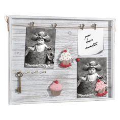CASSETTA PORTAFOTO E PORTACHIAVI A292   Cassetta portafoto e portachiavi in legno con mollette, decorazioni magnetiche in resina. Da parete. Styled by Felix.