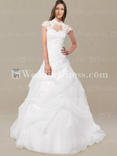 wedding dresses vintage, Vintage inspired wedding dress features Lace bodice with high neckline and cap sleeves. #vintage #lace #highneckline
