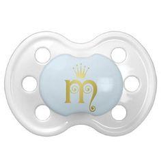 #glitter - #Gold Initial M Letter Monogram Baby Pacifier