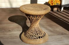 Hourglass Caned Wicker Round Side Table - SOLD to a Los Angeles film studio and now appears on the 2014 Little Caesar's Pizza commercial with the mariachi band! Wicker Side Table, Round Side Table, Patio Table, Vintage Home Decor, Unique Vintage, Vintage Items, Living Room Inspiration, Interior Inspiration, Film Studio