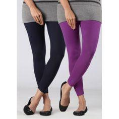 Purple & Black Woman's Cotton Leggings ( Pack of 2)
