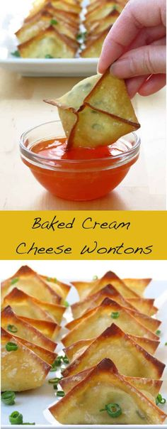 Baked Cream Cheese Wontons - a favorite Chinese American appetizer side snack and game day food! A fun Asian-inspired party food and finger good Check out this baked not fried version. So much healthier and just as yummy! Wonton Recipes, Appetizer Recipes, Snack Recipes, Cooking Recipes, Jalapeno Recipes, Delicious Appetizers, Dishes Recipes, Italian Appetizers, Gastronomia