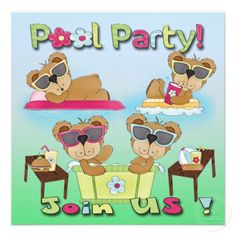 Teddy Bear Pool Party Invitations cool for summer birthdays #birthday #poolparty #invitations