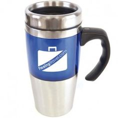 Rembrandt Tall double walled travel mug with stainless steel interior and push on lid Colour Options: Blue, Red Corporate Gifts, Drinkware, Promotion, Stainless Steel, Rembrandt, Travel Mugs, Tableware, Blue, Colour