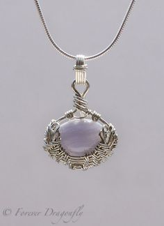 Clam Shell shaped Blue Lace Agate Pendant and Earring Set