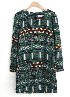 Green Long Sleeve Tribal Pattern Straight Dress US$24.43
