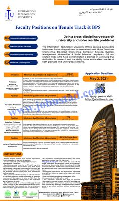 The Information Technology University is a government institute which has announced the latest advertisement for Latest Teaching Jobs in Lahore 2021. Only well qualified and experienced male/female candidates from across the country can apply online at www.itu.edu.pk/ for these ITU Lahore Jobs 2021.