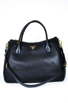 Prada Black Leather Handbag BN2318. What a classy bag! #prada #blackleather #handbag #purse #bn2318 $1660.00