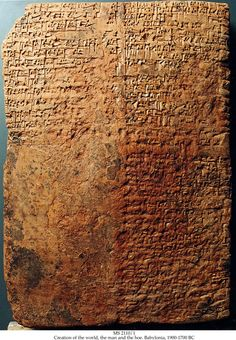 Part of the Sumerian creation myth C.3900BC. It has a substantially variant form of the published text, and the end is unpublished. Parts of the text apparently barrowed by the biblical editors, are similar to Genesis 1:20-22.
