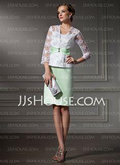 Mother of the Bride Dresses - $146.99 - Sheath Sweetheart Knee-Length Satin Lace Mother of the Bride Dress With Beading (008006161) http://jjshouse.com/Sheath-Sweetheart-Knee-Length-Satin-Lace-Mother-Of-The-Bride-Dress-With-Beading-008006161-g6161