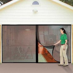 One of the best parts of working in the garage is letting the fresh air roll in, but without the bugs that come with it. The Instant Garage Door Screen instantly makes your garage a more enjoyable pla Man Cave Garage, Garage Shed, Garage Storage, Garage Doors, Garage Organization, Garage Workbench, Garage Signs, Garage Pergola, Organizing