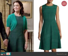 Mellie's green textured dress on Scandal.  Outfit Details: http://wornontv.net/47045/ #Scandal