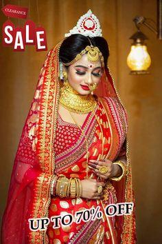 Indian Bridal Photos, Indian Bridal Outfits, Indian Bridal Fashion, Bridal Dresses, Indian Wedding Bride, Bengali Wedding, Bengali Bride, Bengali Saree, Bridal Poses