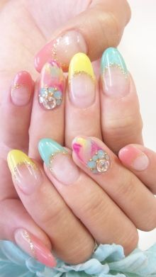 Nails, Nail Art, Nail Design, Japanese Nail Art, Long Nails, Oval Nails, Almond Nails, Long Nails, French Tips, Colored Tips, Pastels, Spring, Marbled, Rhinestones, Glitter, Gold, Yellow, Aqua, Blue, Cyan, Bubble Gum Pink, Bright Pink, Turquoise,
