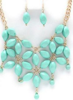 Mint Beaded Necklace and Earring Set #jewelry #statement #chic
