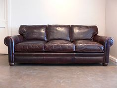 """Our Langston Leather Sofa marries beautiful Brompton Cocoa Leather, ultimate deep seating (up to 48""""!) and as with all of the LeatherGroups.com Custom Leather Furniture styles, you can have it made the way you want it. More info: https://www.leathergroups.com/shop/Langston-Leather-Sofa.html"""