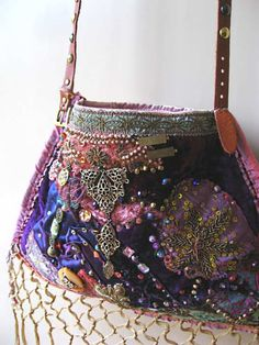 Boho Theatre Bag Antique Velvet Purple Pink di AllThingsPretty