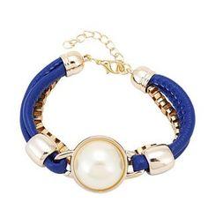 Fashion Blue Personalized Multilayer Acrylic Leather Bracelets