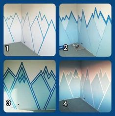 Trendy Ideas For Wall Painting Kids Room Diy Children Room Wall Painting, Kids Room Paint, Diy Painting, Mural Painting, Mountain Mural, Mountain Paintings, Mountain Bedroom, Nursery Room, Kids Bedroom