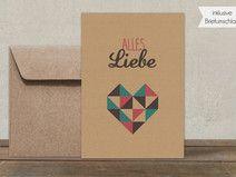 Postkarte + Umschlag | Alles Liebe | braun