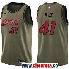 Men s Nike Miami Heat  41 Glen Rice Green Salute to Service NBA Swingman  Jersey Glen d02d2c26b