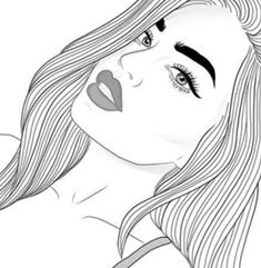 immagine di draw girl and art - Outline Pictures For Drawing