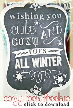 Free Download- Tag for Cozy Toes (gift of socks & nail polish) #Tags, #GiftGiving