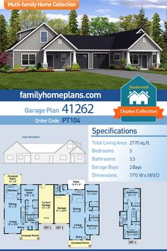 Duplex house plan with side by side units. Unit A is a 3 bedroom bedroom unit at 1647 sq ft and unit B is a 2 bedroom and 1 bathroom unit at 1123 sq ft. Unit A also has a tandem garage vs the stan Basement House Plans, Family House Plans, Garage Plans, Modern House Plans, Home And Family, Car Garage, Tandem Garage, Family Cars, Dream Garage