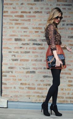 Fall Fashion - cognac leather skirt + blouse + booties