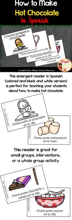 This emergent reader in Spanish (colored and black and white version) is perfect for teaching your students about how to make hot chocolate-Cómo hacer chocolate caliente with a fun and unexpected ending. The text continues every page with great picture support for early readers. #literacycenters #spanishliteracycenters #centrosdelectura #centrosdelecturakinder #spanishemergentreaders #emergentreadersinspanish #howtomakehotchocolatesequencing #centrosdelecturaprimergrado #tptspanishresources Phonics Activities, Classroom Activities, Reading Activities, Teaching Spanish, Learn Spanish, Learning Resources, Teaching Tips, Bilingual Classroom, Emergent Readers