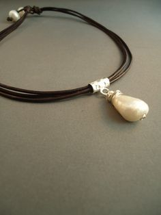 Leather  Baroque  Pearl  Necklace by iseadesigns on Etsy, $36.99